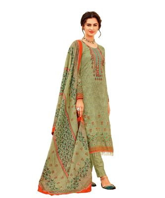 green embroidered cotton unstitched salwar