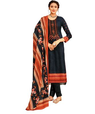grey embroidered cotton unstitched salwar