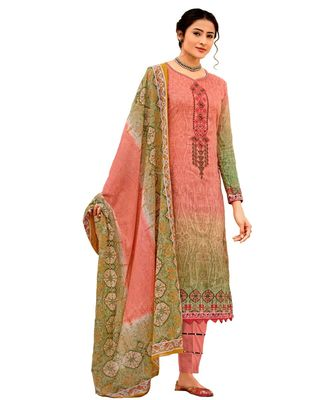 pink embroidered cotton unstitched salwar