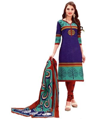 multicolor printed cotton unstitched salwar