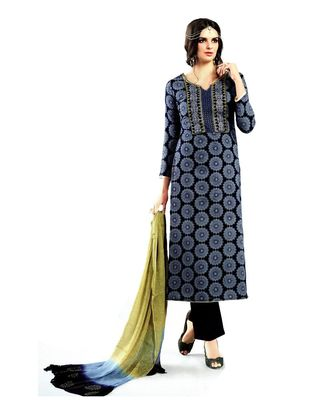 blue embroidered cotton unstitched salwar
