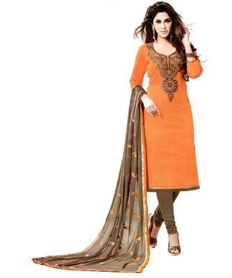 orange embroidered cotton unstitched salwar