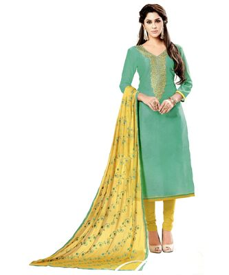 green embroidered cotton unstitched salwar