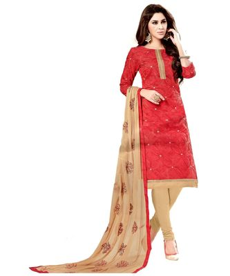 red embroidered cotton unstitched salwar