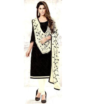 black embroidered cotton unstitched salwar