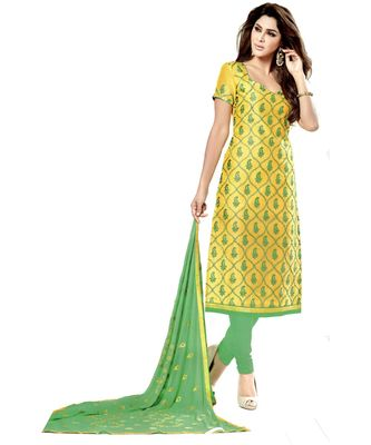yellow embroidered cotton unstitched salwar