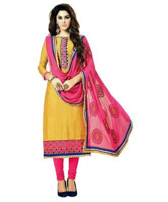 yellow embroidered cotton_silk unstitched salwar