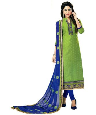 green embroidered cotton_silk unstitched salwar
