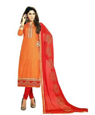 orange embroidered cotton_silk unstitched salwar
