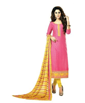 pink embroidered cotton_silk unstitched salwar