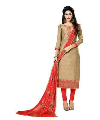 Beige Embroidered Cotton Silk Unstitched Salwar