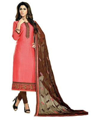 peach embroidered cotton_silk unstitched salwar