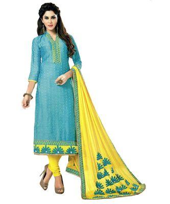 blue embroidered cotton_silk unstitched salwar