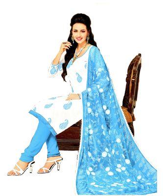 white embroidered cotton unstitched salwar