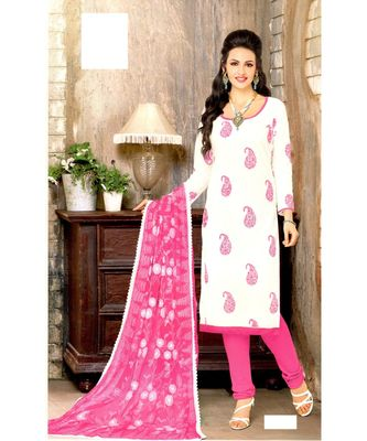 White Embroidered Cotton Unstitched Salwar