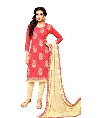 peach embroidered cotton unstitched salwar