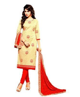 cream embroidered cotton unstitched salwar