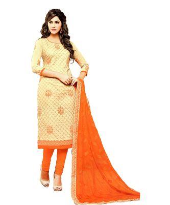 cream embroidered cotton unstitched salwar