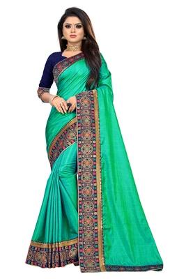 Light green printed art silk saree with blouse