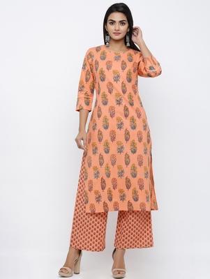 Women's  Peach Cotton Cambric Mughal Print Straight Kurta with Palazzo Set