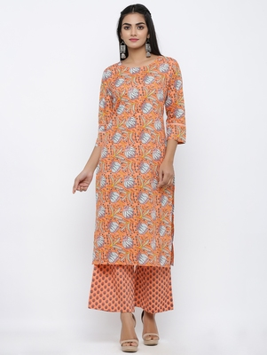 Women's  Peach Cotton Cambric Self Design Straight Kurta with Palazzo Set