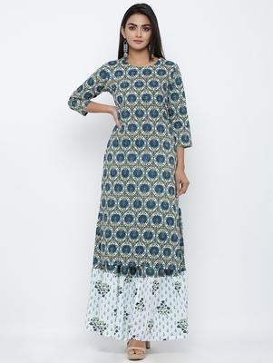 Women's  Dark Green Cotton Cambric Screen Print Straight Kurta with Skirt Set