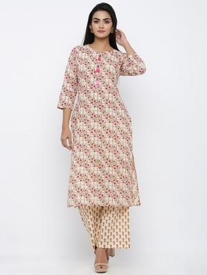 Women's  Beige Cotton Cambric Self Design Straight Kurta with Palazzo Set