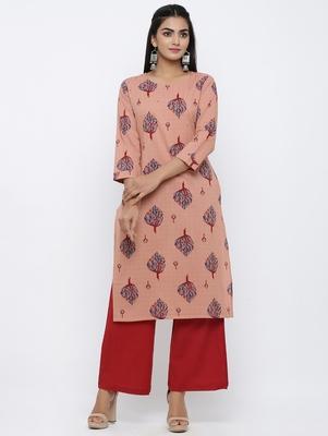 Women's  Coral & Red Cotton Cambric Buta Print Mirror Work Straight Kurta with Palazzo Set