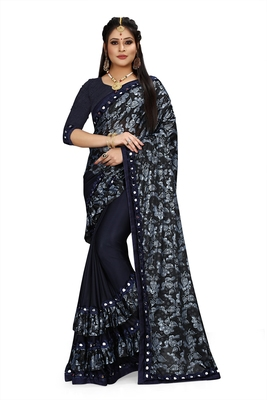 Dark blue printed lycra saree with blouse