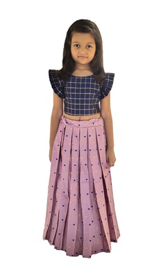 Kids Blue Blouse And Pink Lehenga Choli Set