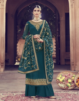 Teal-green embroidered georgette salwar