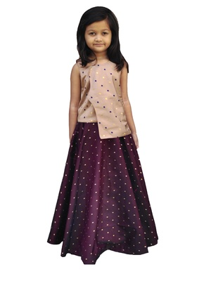 Kids Brown Top And Maroon Lehenga