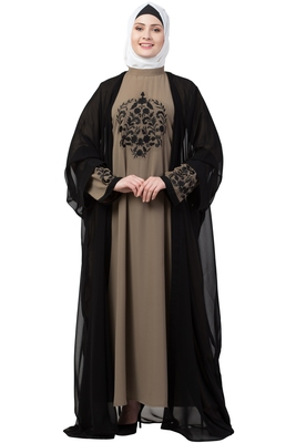 women Double layered embroideryDubai abaya