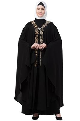 women Black Double layered Irani Kaftan abaya