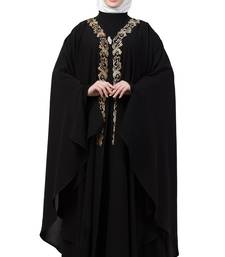Women Black Double Layered Irani Kaftan Abaya