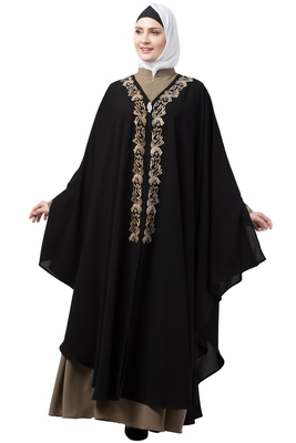 women Black &beige Double color Double layered Irani Kaftan abaya