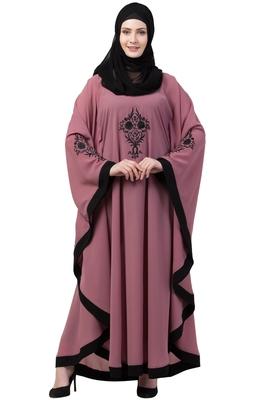 Women Embroidered Designer Kaftan Abaya-Puce Pink