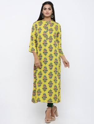 Women's Yellow Rayon Buta Print Straight Kurta
