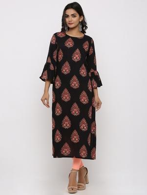 Women's Black Rayon Buta Print Straight Kurta
