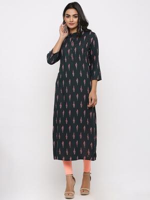 Women's Dark Green Rayon Ikat Print Straight Kurta