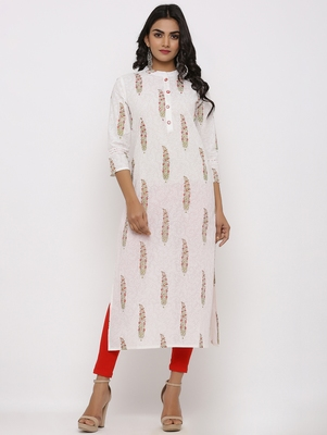 Women's White Cotton Cambric Mughal Print Straight Kurta