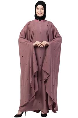 Women Designer Irani Kaftan abaya-Puce Pink