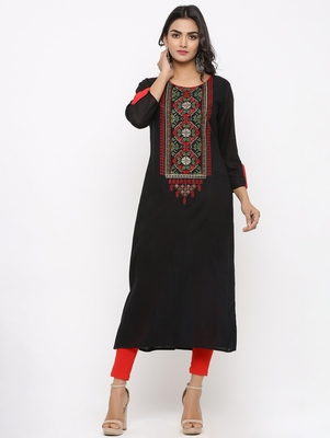 Women's Black Rayon Embroidery Straight Kurta