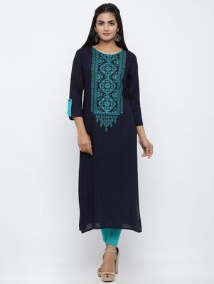 Women's Blue Rayon Embroidery Straight Kurta