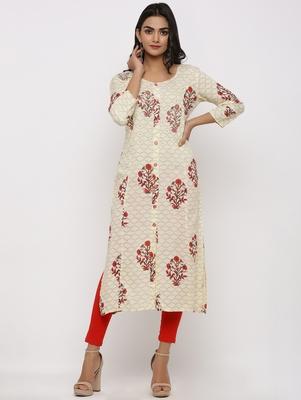 Women's Off White Rayon Buta Print Straight Kurta
