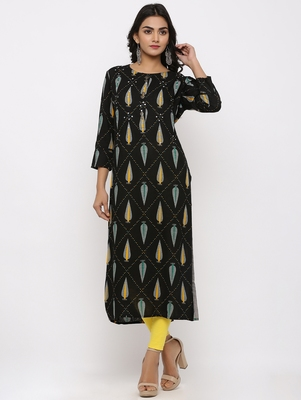 Women's Black Rayon Self Design Straight Kurta