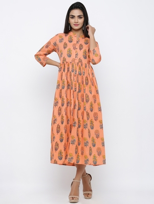 Women's Peach Cotton Cambric Mughal Print A-line Kurta