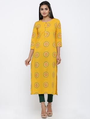 Women's Mustard Cotton Cambric Self Design Straight Kurta