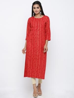 Women's Red Rayon Self Design Straight Kurta