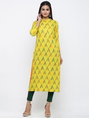 Women's Yellow Rayon Zig zag print Straight Kurta